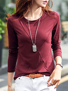 Round  Neck  Brief  Plain  Long Sleeve T-Shirt