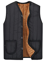 Men Patch Pocket Fleece Lined Plain Waistcoat