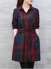 Button-Down-Collar-Drawstring-Checkered-Skater-Dresses
