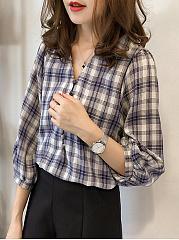 Autumn Spring  Cotton  Women  Plaid  Three-Quarter Sleeve Blouses