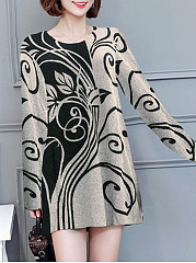 Round Neck Casual Printed Shift Dress