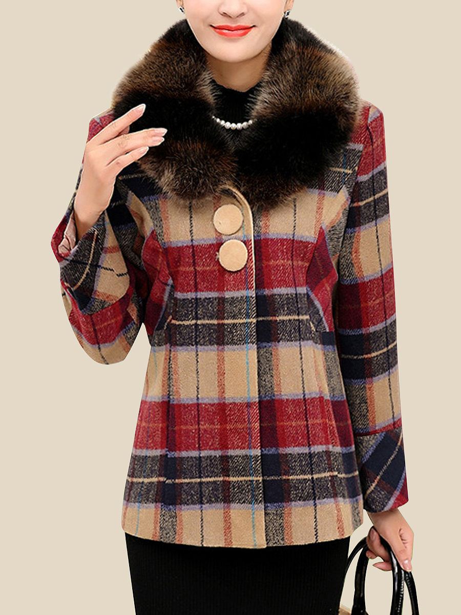 Detachable Faux Fur Collar Plaid Pocket Woolen Coat