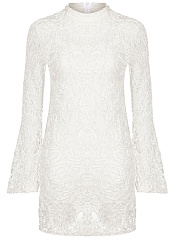 Band-Collar-Plain-Lace-Bell-Sleeve-Mini-Bodycon-Dress