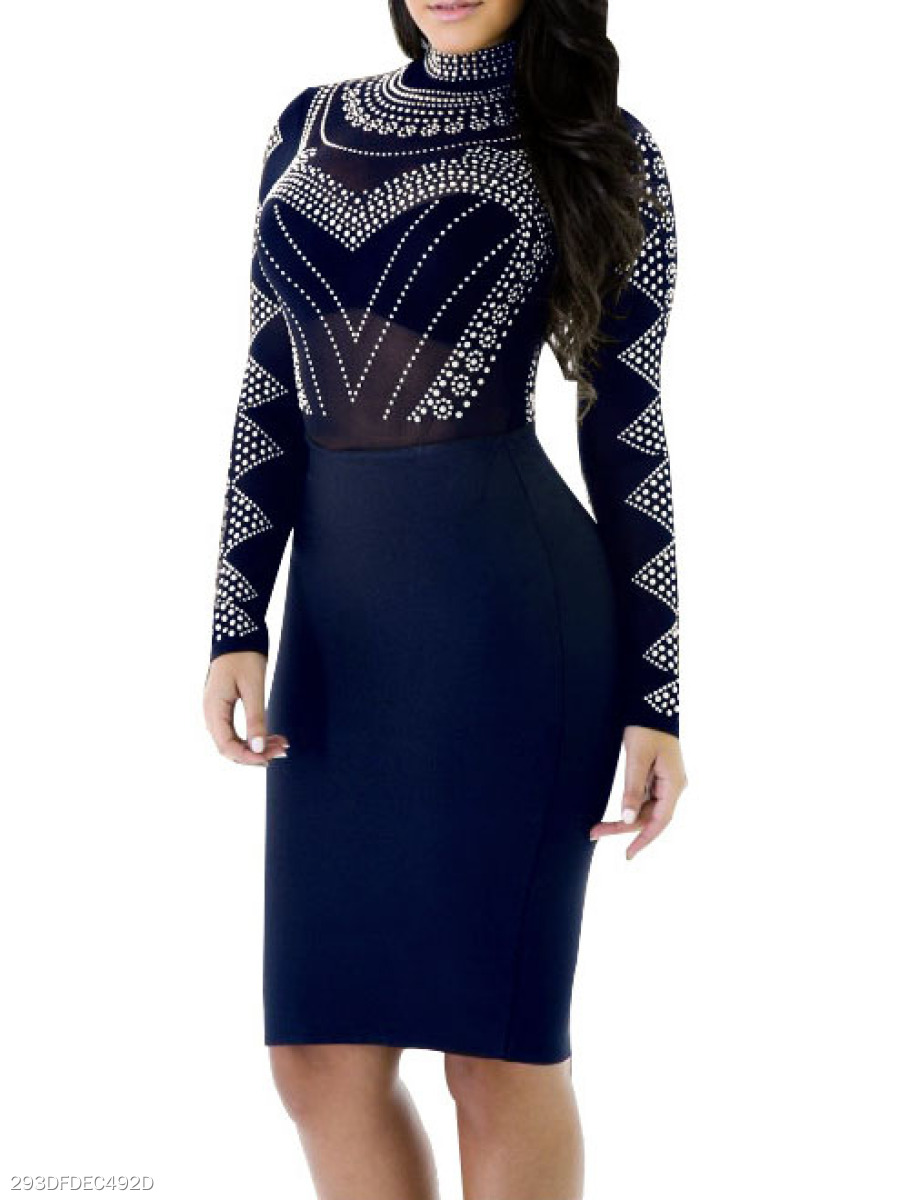 Band Collar  Sexy  See-Through  Acid Wash Bodycon Dress