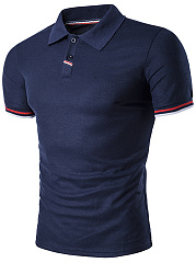 Polo Collar  Contrast Trim  Striped  Short Sleeve Polos