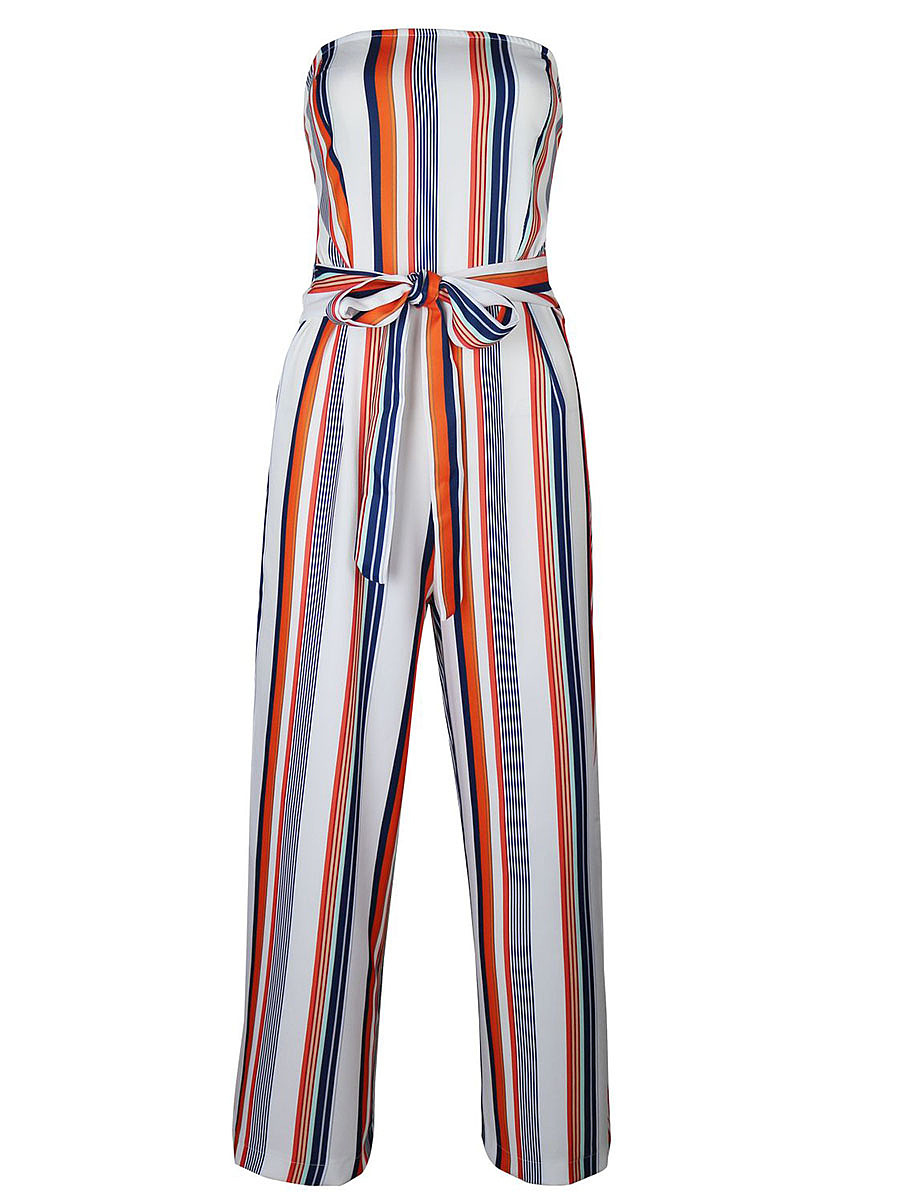 Strapless Vertical Striped Bowknot Wide-Leg Jumpsuit
