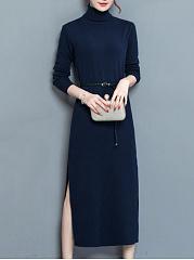 Turtleneck-Belt-Plain-Side-Slit-Knitted-Maxi-Dress