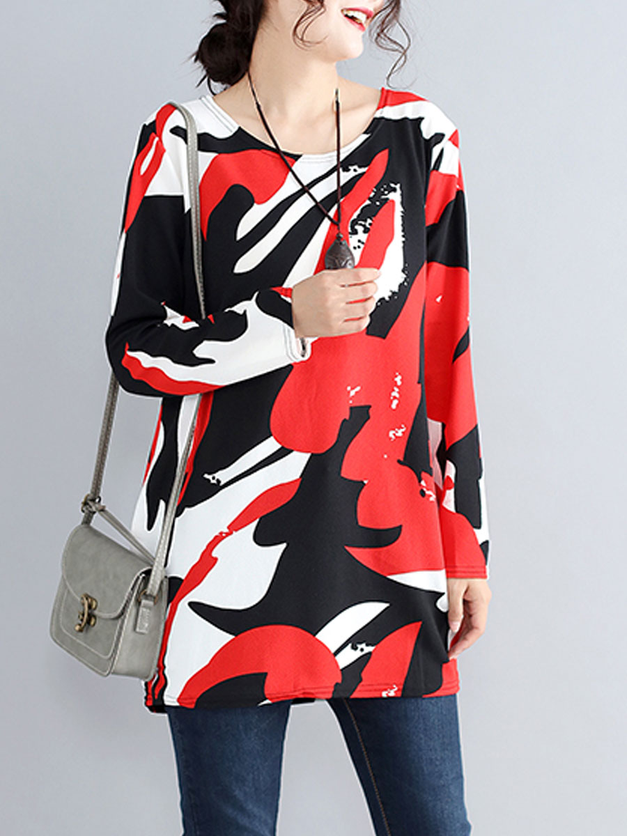 Round Neck  Abstract Print  Long Sleeve Long Sleeve T-Shirts
