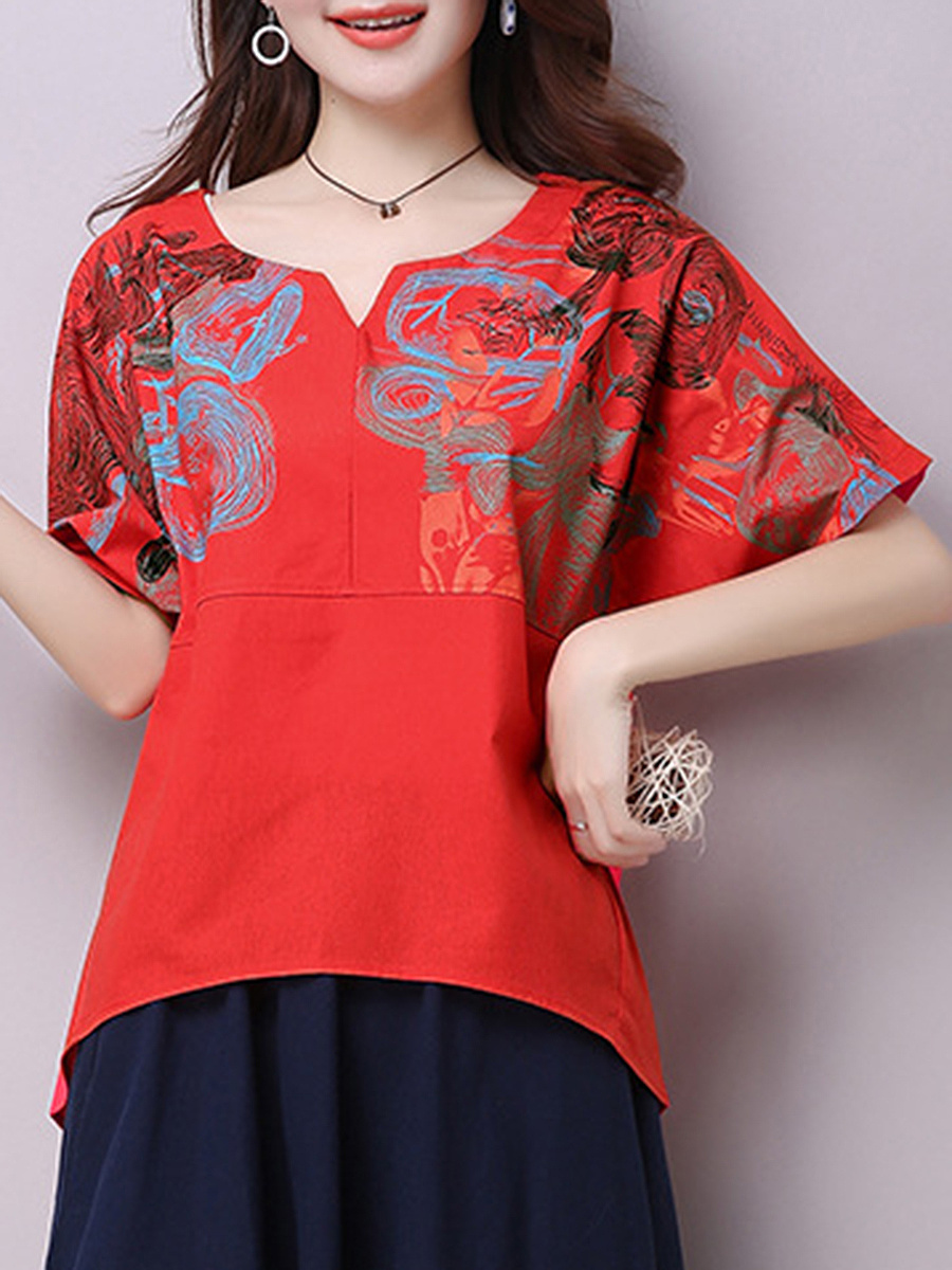 Loose Split Neck Printed Short Sleeve T-Shirt