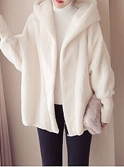 Hooded  Plain  Batwing Sleeve Coat