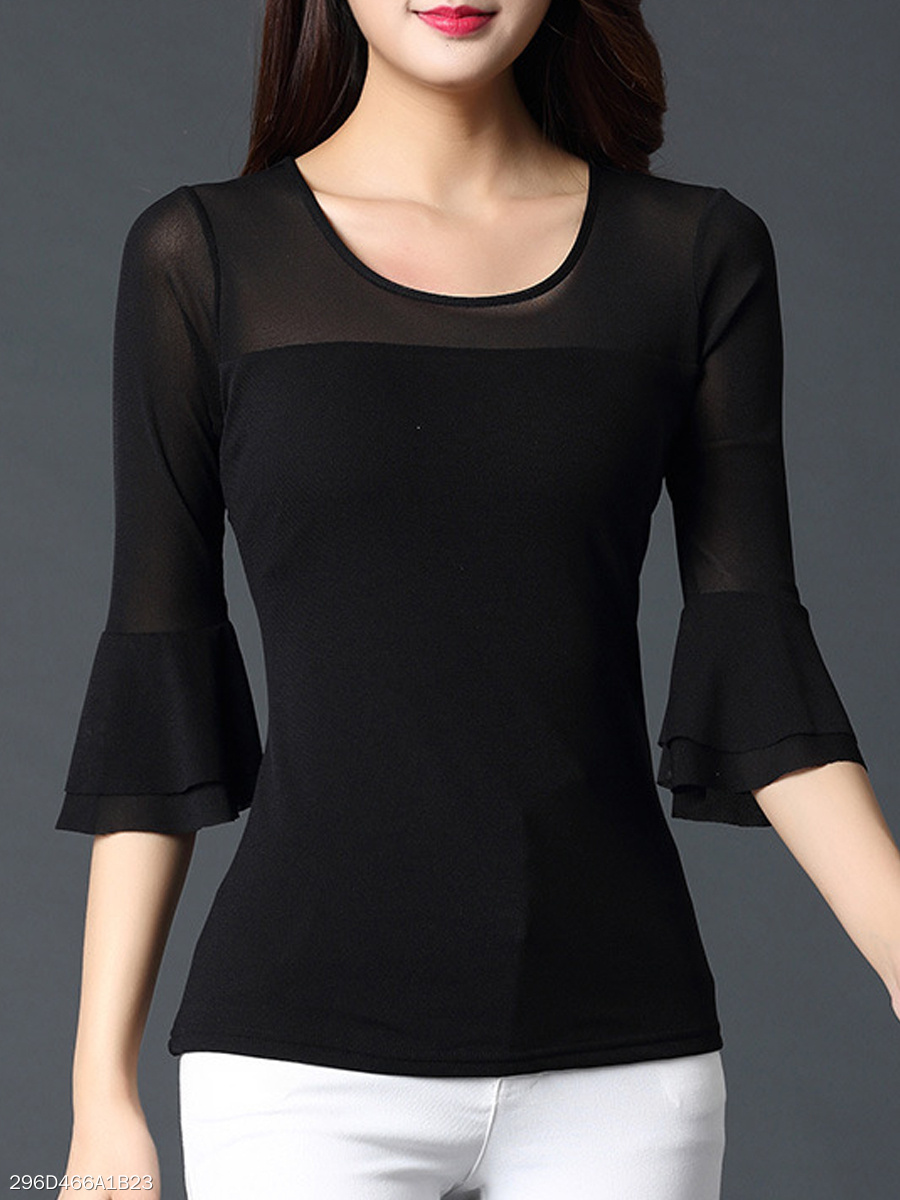 Autumn Spring  Polyester  Women  Round Neck  Plain  Bell Sleeve  Three-Quarter Sleeve Short Sleeve T-Shirts
