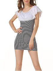 Off Shoulder Patchwork Ruffle Trim Striped Cotton Bodycon Dress