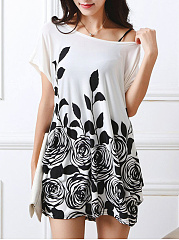 Summer Floral Printed Round Neck Mini Shift Dress