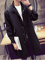 High Neck Flap Pocket Plain Men Trench Coat