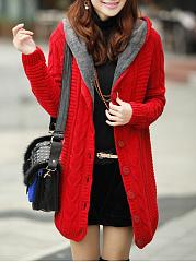 Hooded-Single-Breasted-Plain-Long-Sleeve-Coats