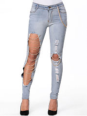 Cutout-Chain-Ripped-Slim-Leg-Mid-Rise-Jeans