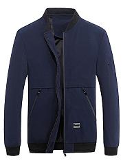Band-Collar-Zips-Pocket-Plain-Men-Coat