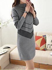 Band Collar  Plain  Blend Bodycon Dress