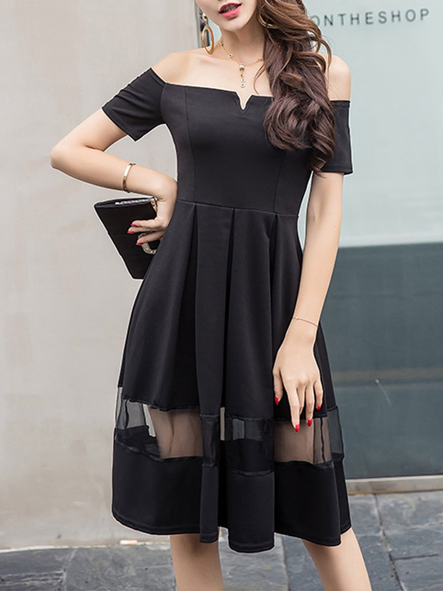 Sexy Off Shoulder See-Through Plain Skater Dress