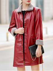 Lapel Flap Pocket Single Breasted PU Leather Coat