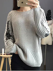 Hollow Out Gray Bandage Sweater