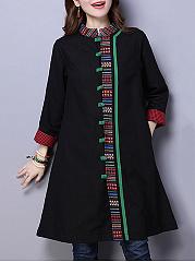 Band-Collar-Tribal-Printed-Pocket-Long-Coat