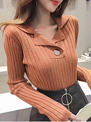 Fold-Over Collar  Decorative Button  Plain Striped  Long Sleeve Sweaters Pullover