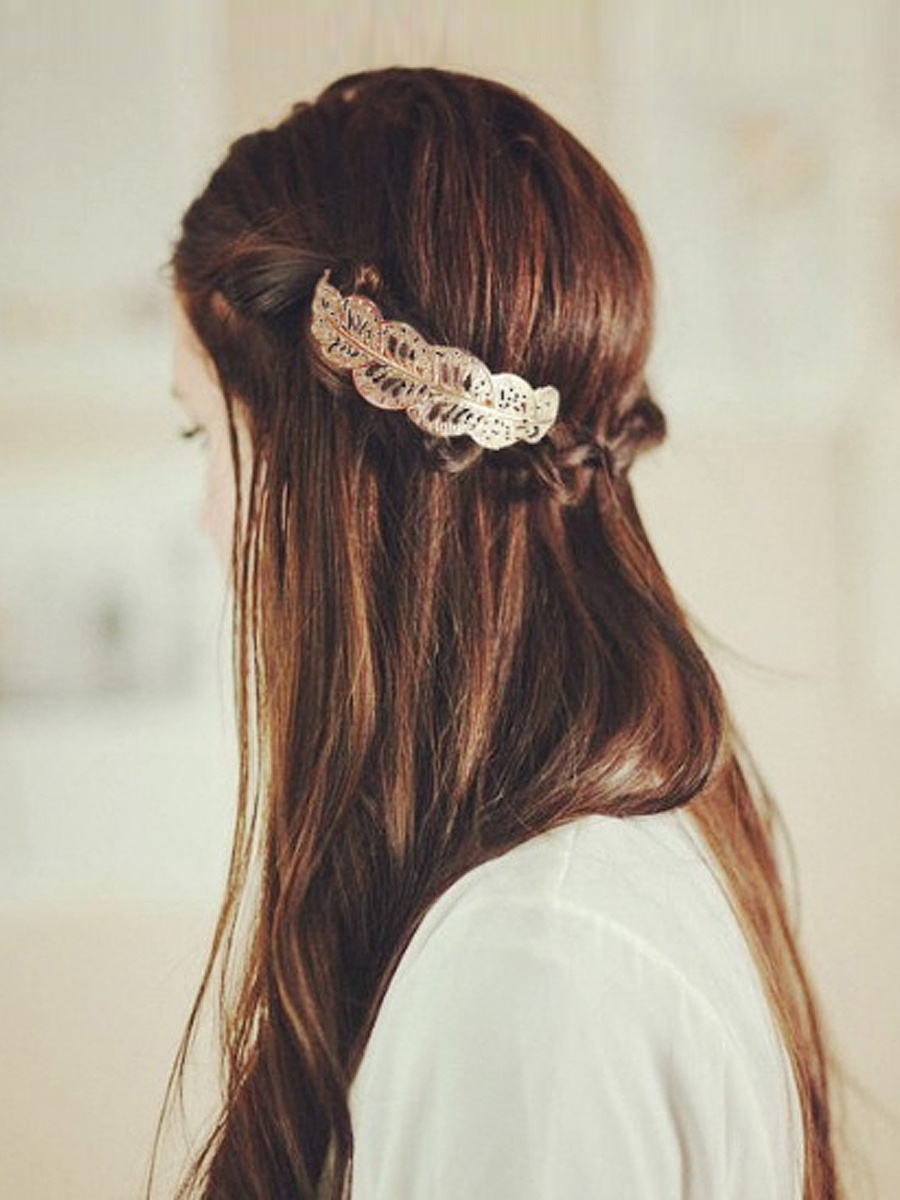 Gold Hollow Out Leaf Hair Clip