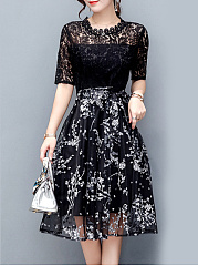 Exquisite-Floral-Hollow-Out-Midi-Skater-Dress