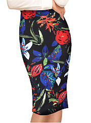 Colorful-Printed-Slit-Pencil-Midi-Skirt