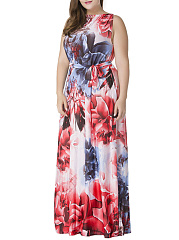 Sleeveless Boat Neck  Plus Size Maxi Dress In Floral Printed