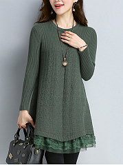 Round Neck Decorative Lace Plain Knitted Shift Dress