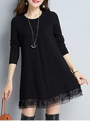 Round-Neck-Decorative-Lace-Plain-Knitted-Shift-Dress