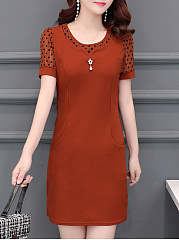 Round Neck  Slit Pocket  Fake Two-Piece  Plain Polka Dot Bodycon Dress