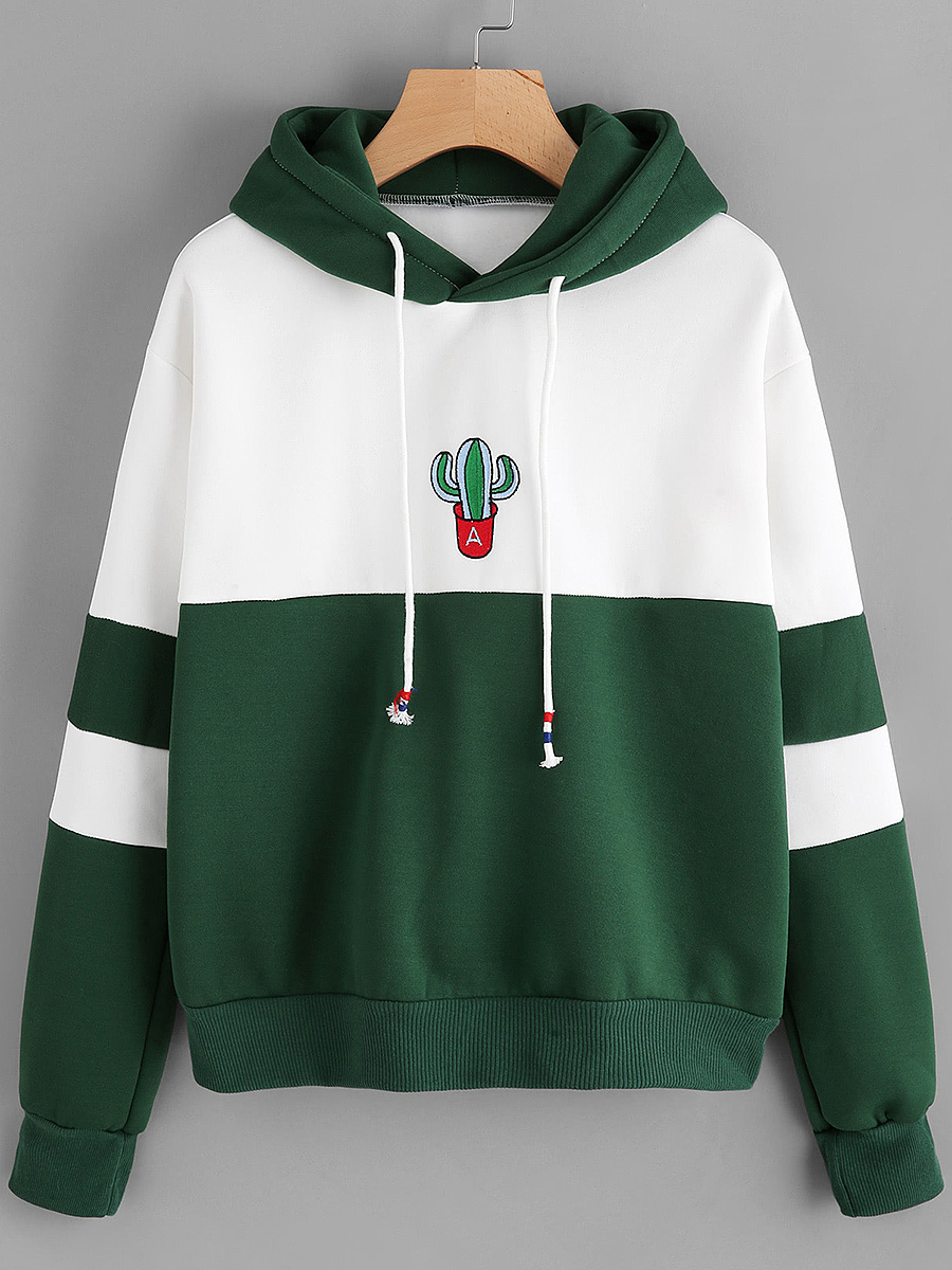 Color Block Embroidery Drawstring  Hoodie