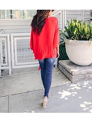 Fashionable Sexy   V-Neck Chiffon Blouse T-Shirt