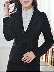 Fold-Over-Collar-Plain-Long-Sleeve-Blazers