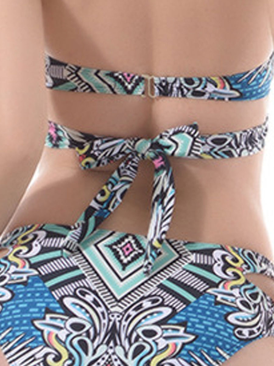 Lightweight  Abstract Print  Mid-Rise Bikini