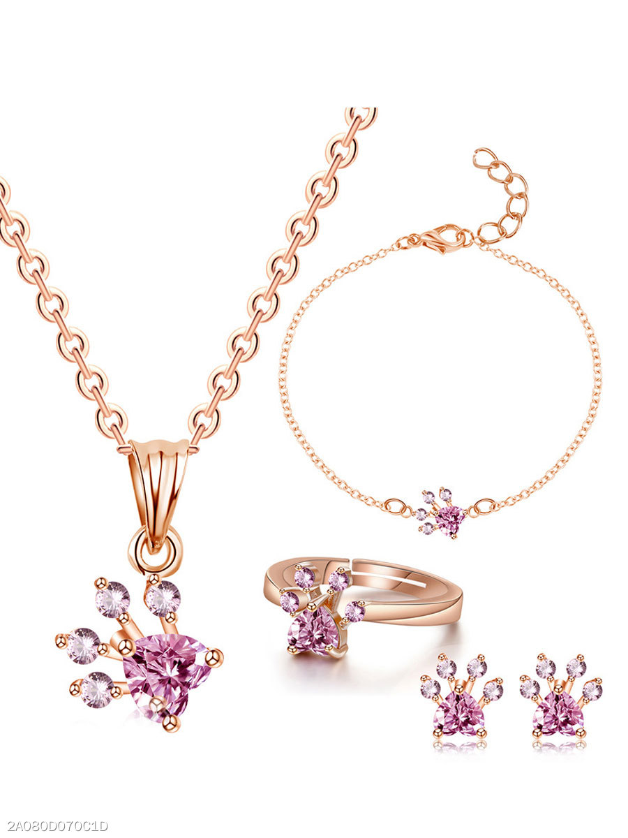 Imitated Crystal Pink Jewelry Sets For Women