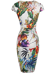 Split Neck Multi-Color Floral Leaf Printed Bodycon Dress
