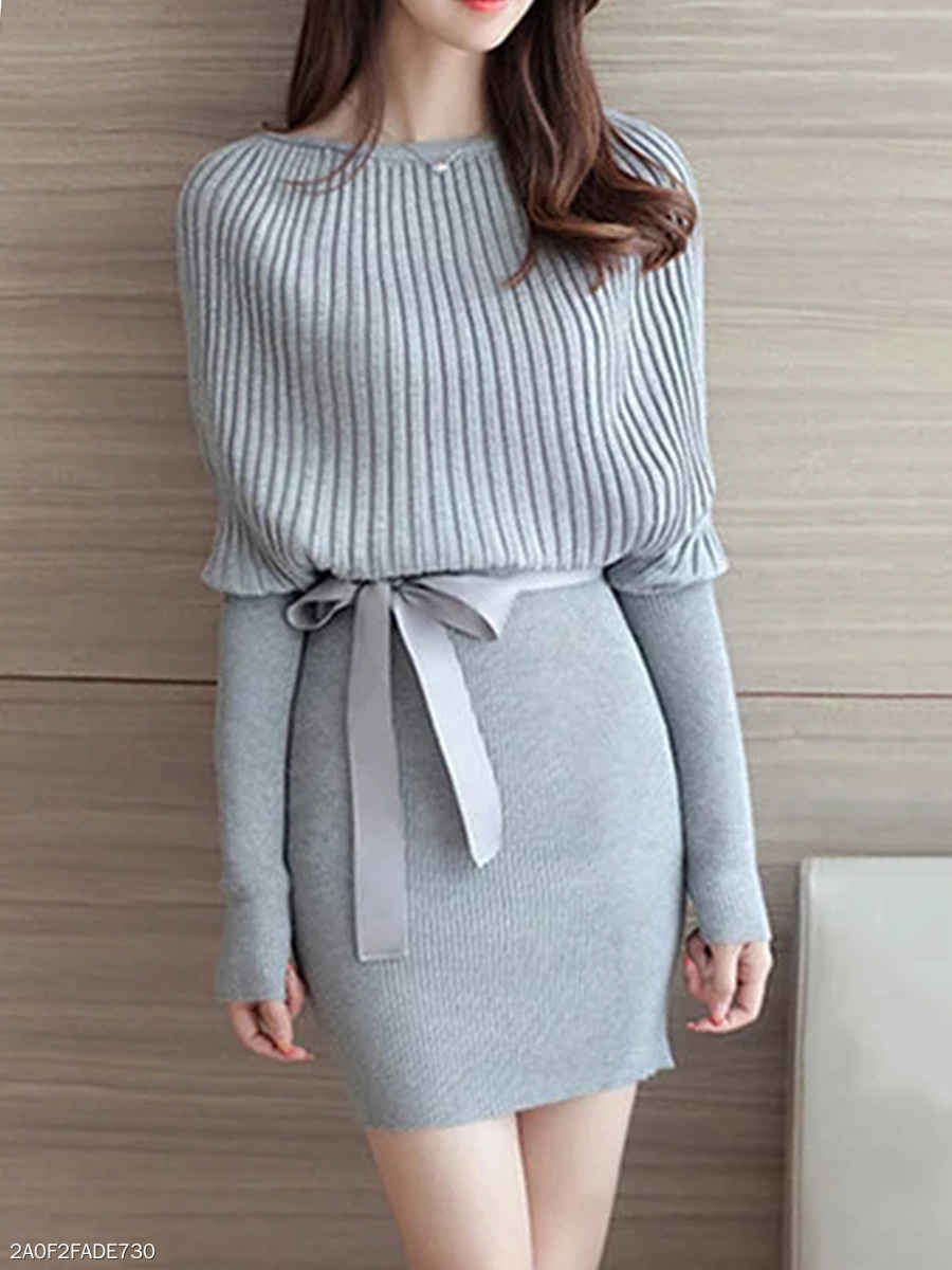 Boat Neck Bowknot Plain Knitted Bodycon Dress