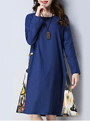 Casual-Round-Neck-Tribal-Printed-Shift-Dress