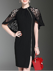 Band Collar  Decorative Lace Zips  Plain  Polyester Evening Dresses