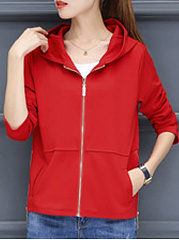 Hooded  Zips  Plain  Long Sleeve Jackets