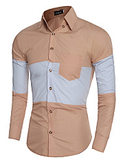 Men Color Block Patch Pocket Shirts
