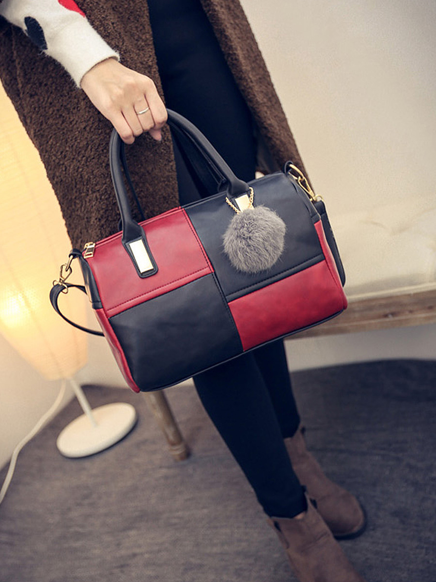 Color Block Fur Ball Shoulder Bag