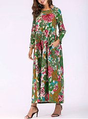 Round Neck  Oversized Daily Printed Maxi Dress