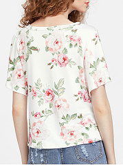 Summer  Polyester  Women  Surplice  Floral Printed Short Sleeve T-Shirts