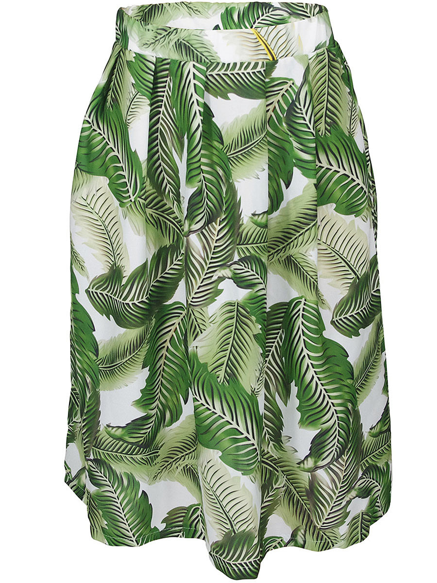 Tropical Leaf Printed Flared Midi Skirt