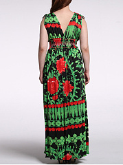 Charming Empired Printed Deep V-Neck Plus Size Maxi Dress